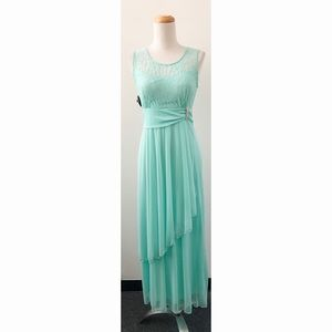 Neon Mint Lace Dress with Brooch Detail